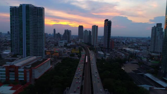 4K aerial drone footage of Bangkok skyline, Great sunset scene. Fantastic landscape. Business city, view of Bangkok downtown, Flying over Bangkok, Thailand.
