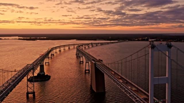 Aerial drone footage of Chesapeake Bay Bridge