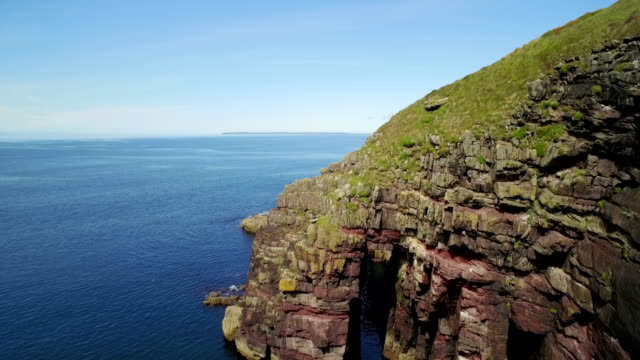 Aerial drone footage of cliff and seascape video
