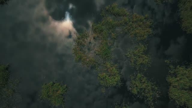 雲を反射するクローズアップ湖の空中ドローン映像。 - シベリア点の映像素材/bロール