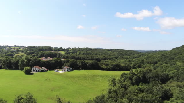 Aerial Drone Footage of forest over spring mountains, hills and meadows with forests in sun soft light with blue sky and clouds. Les landes, South France. Beautiful landscape in 4K.