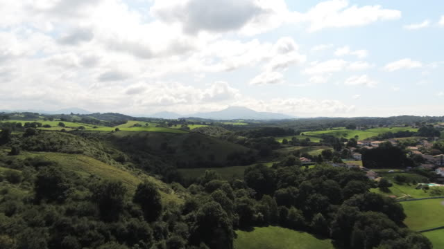 Aerial Drone Footage of forest over spring mountains, hills and meadows with forests in sun soft light with blue sky and big clouds over mountain. Les landes, South France. Beautiful landscape in 4K.