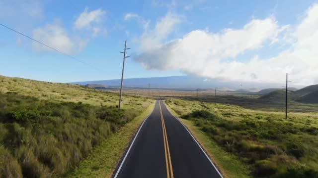Aerial drone footage of Hawaii State Route 200, also called Saddle Road, between the volcanic mountains Mauna Kea and Mauna Loa on the Big Island of Hawaii, USA. Cinematic panning through landscape.