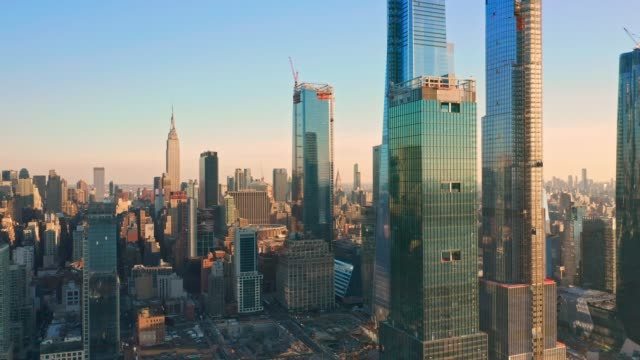 Aerial drone footage of New York skyline