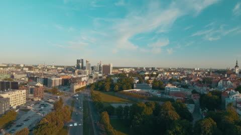Aerial drone footage of Tallinn Old Town St. Olaf's Church, Tallinn estonia stock videos & royalty-free footage