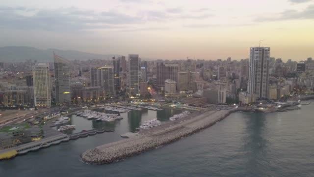 黎巴嫩貝魯特 zaytunay 灣碼頭空中無人機畫面 - lebanon 個影片檔及 b 捲影像