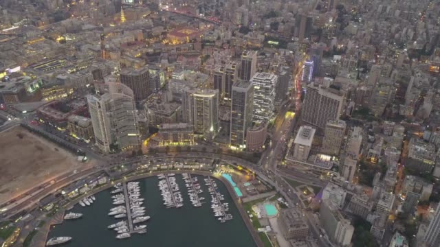 Aerial drone footage of Zaytunay Bay marina, in Beirut, Lebanon Beautiful sunset in Aerial Panoramic Footage of Beirut, Lebanon beirut stock videos & royalty-free footage