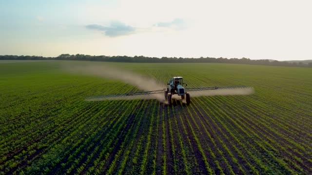 vídeos de stock e filmes b-roll de 4k aerial drone footage. tractor sprayer on soybean fields at sunset - pulverizar