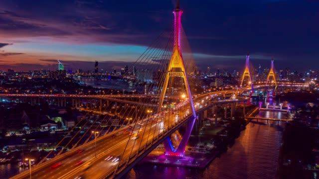 vídeos y material grabado en eventos de stock de drone aéreo hiper lapso sobre el puente bhumibol conocido como puente de carretera industrial ring que conecta el sur de bangkok con samut prakan. el puente cruza el río chao phraya para resolver problemas de tráfico. - bangkok