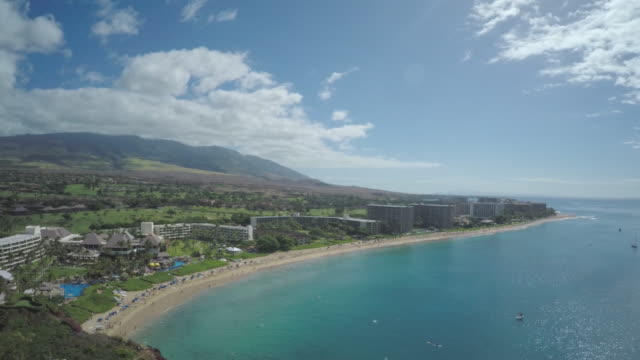 4K Aerial Drone Maui, Hawaii, Kaanapali Coast, Black Rock video