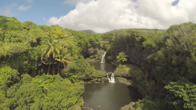 4K Aerial Drone Maui, Hawaii Waterfall video
