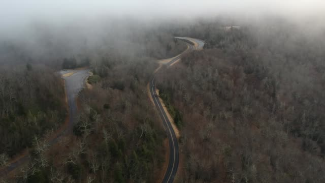Aerial Drone of Pisgah National Forest in the Foggy Blue Ridge Mountains near Asheville, North Carolina
