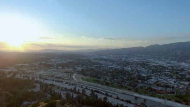 Aerial drone pan of Burbank, CA at sunset video