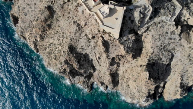 Aerial drone point of view directly from above Mesa Roldan Lighthouse located on the cliff