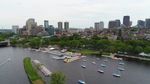 Aerial drone shot Charles River and Boston Massachusetts video