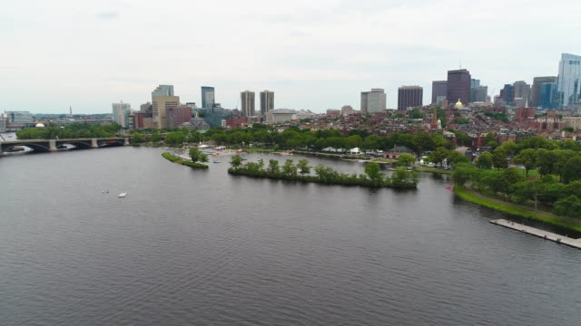 Aerial drone shot Charles River Community sailing video