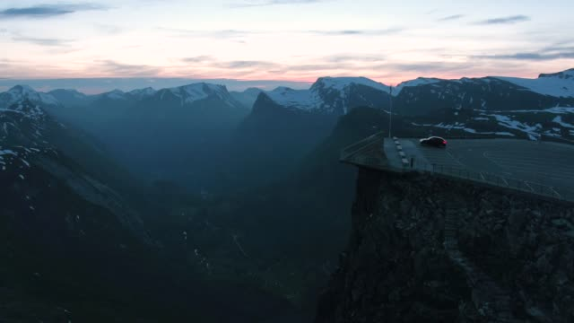 Aerial drone shot of a car park overlooking Geiranger Fjord, Norway