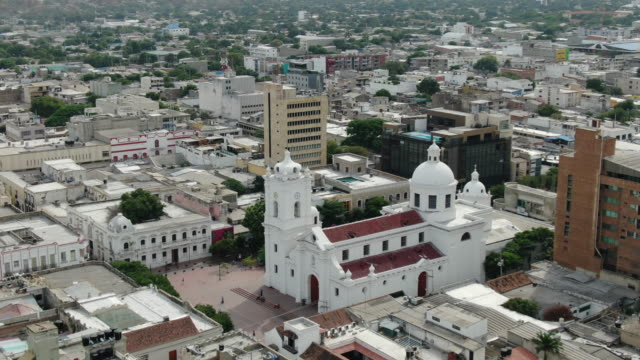 Aerial drone shot of a Columbian city