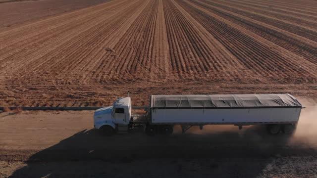 vidéos et rushes de tir de drone aérien d'un maïs de semi camion transportant couverte de grains à la récolte à côté d'un champ de maïs dans une exploitation agricole - maïs culture