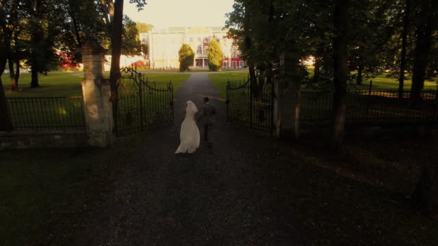 Aerial drone shot of a groom and bride moving towards mansion in a park. video