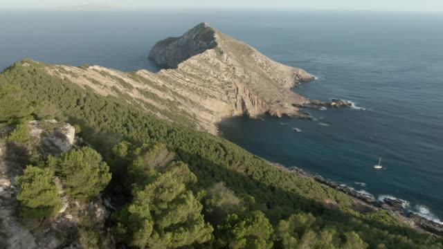 空中無人機拍攝在靠近海洋的半島與樹木 - sicily 個影片檔及 b 捲影像