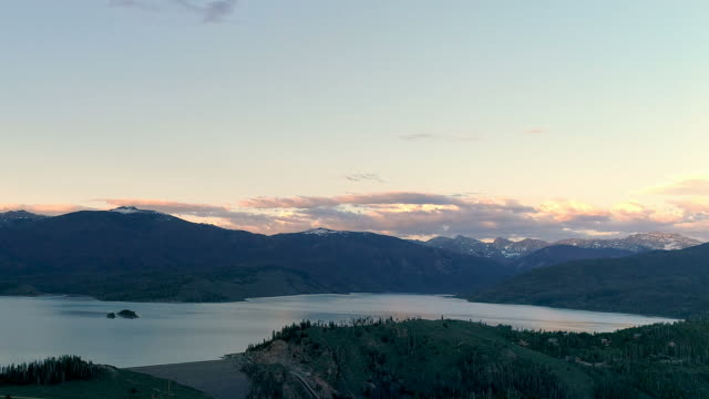 Aerial drone shot of Lake Granby, Colorado in the Rocky Mountains video