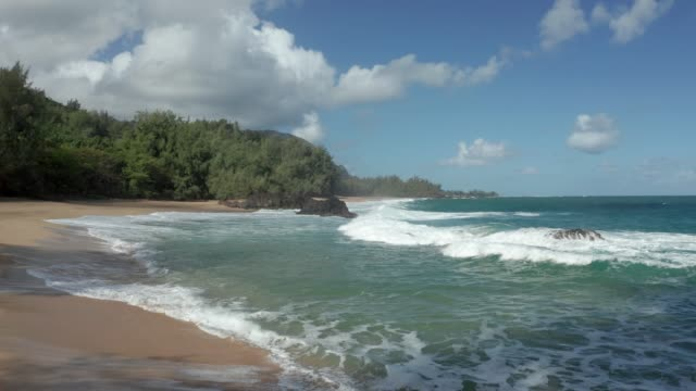 Aerial drone shot of Lumahai Beach on the north shore of Kauai in Hawaii - video