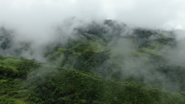 Aerial drone shot of lush green Colombian wilderness going through clouds