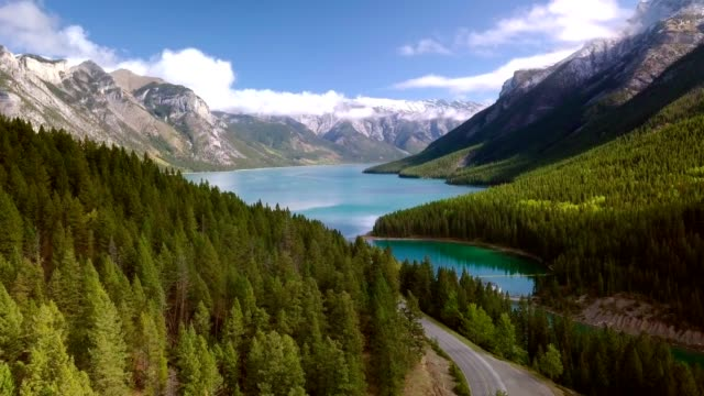 aerial drone shot of lush greenery of two jack lake in banff national park, alberta, canada. - вечнозелёное дерево стоковые видео и кадры b-roll