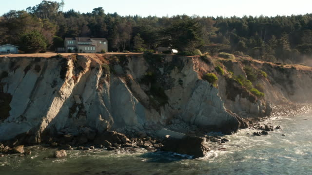 Aerial Drone Shot of Northern California Coastline and Cliffside Homes