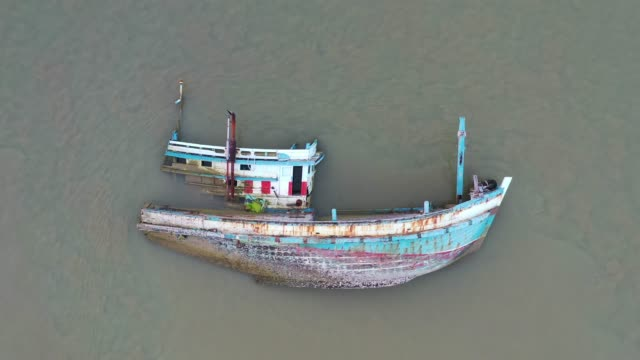 Aerial Drone Shot of Shipwreck in sea