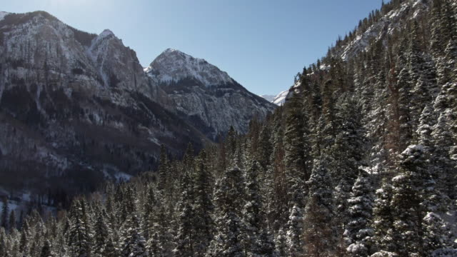 Aerial Drone Shot of Snowy Forests of Trees and Snowcapped Peaks of the San Juan Mountains (Rocky Mountains) outside of Ouray, Colorado under a Clear Sky Aerial Drone Shot of Snowy Forests of Trees and Snowcapped Peaks of the San Juan Mountains (Rocky Mountains) outside of Ouray, Colorado under a Clear Sky snowcapped mountain stock videos & royalty-free footage