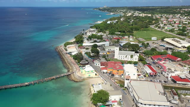 Aerial drone shot of Speightstown, Barbados video