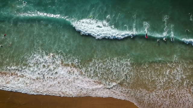 vídeos de stock e filmes b-roll de aerial drone shot of surfers lying in the water, swimming through whitewater next to some houses on a cliff in algarve, portugal. - algarve