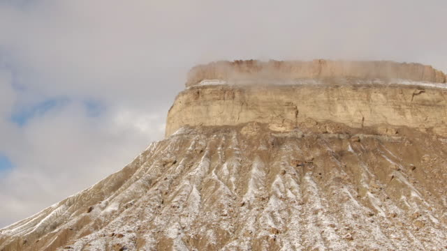 Aerial Drone Shot of the Striped, Eroded Sandstone Cliffs of the Bookcliffs (Geological Formation) and Mt. Garfield in the High Desert of Grand Junction and Palisade, Colorado on a Snowy, Partially Cloudy Day