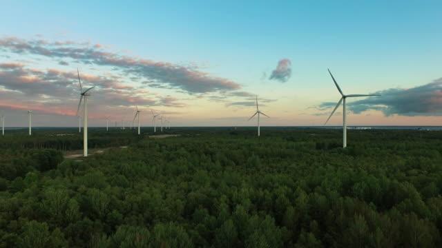 Luftbild-Drohne Schuss von Windenergieanlagen im Wald nahe dem Meer bei Sonnenuntergang. – Video