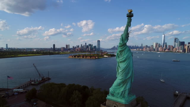 Aerial drone shot Statue of LIberty