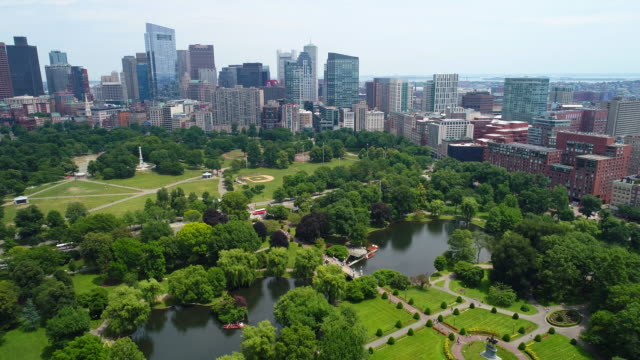 Aerial drone video Boston Common video