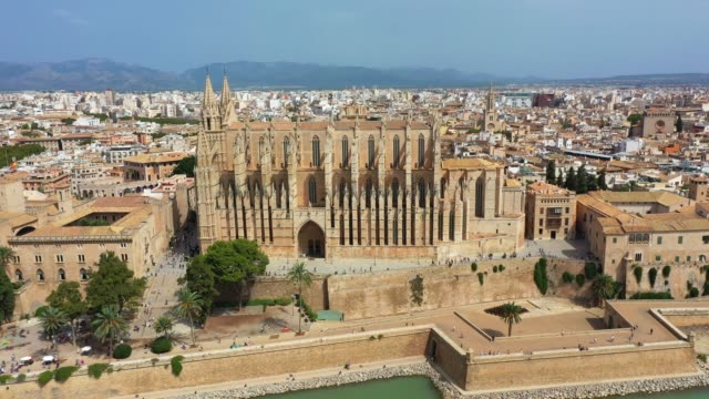 Aerial drone video footage Famous Cathedral La Seu in Palma de Mallorca Spain Aerial drone video footage Famous Cathedral La Seu in Palma de Mallorca Spain, Europe cathedrals stock videos & royalty-free footage