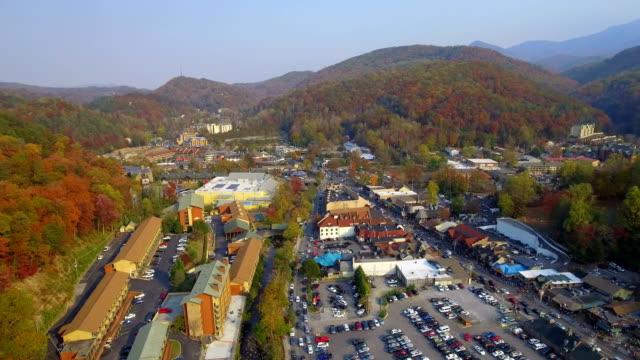 Aerial drone video Gatlinburg Tennessee USA video