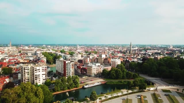 aerial drone video, lille city from the citadel park. 4k - francja filmów i materiałów b-roll