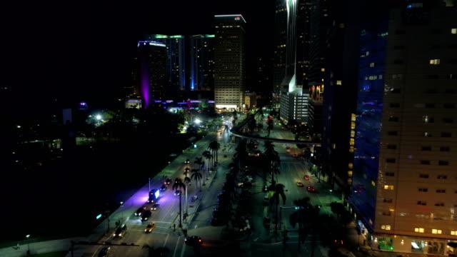 Aerial drone video Miami at night video