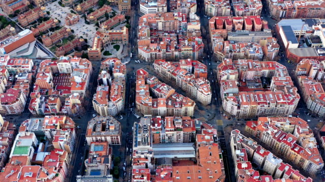Aerial drone video of Barcelona Spain. Streets of Expansion District. hospital de sant pau. Video footage Aerial drone video of Barcelona Spain. Streets of Expansion District. hospital de sant pau. Video footage. Car traffic general view stock videos & royalty-free footage