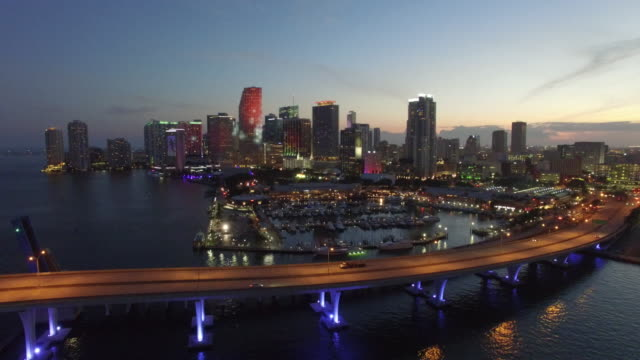Aerial drone video of Downtown Miami at dusk Aerial drone stock video of Downtown Miami and Bayfront at night quadcopter stock videos & royalty-free footage