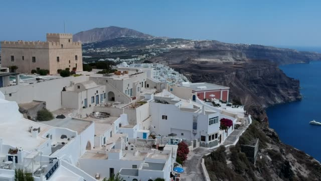 aerial drone video of santorini volcanic island on a summer, , greece - fire filmów i materiałów b-roll