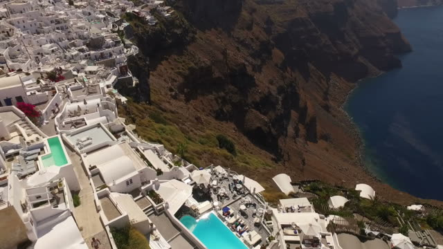 Aerial drone video of Santorini volcanic island on a summer morning, Cyclades, Greece video