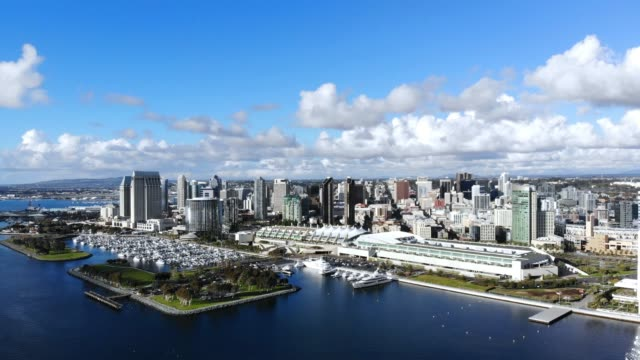 Aerial drone video of the San Diego waterfront