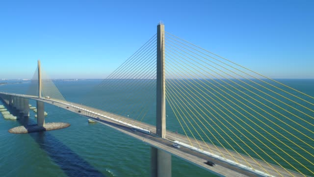 Aerial drone video Sunshine Skyway Bridge Aerial stock video of the Sunshine Skyway Bridge suspension bridge stock videos & royalty-free footage