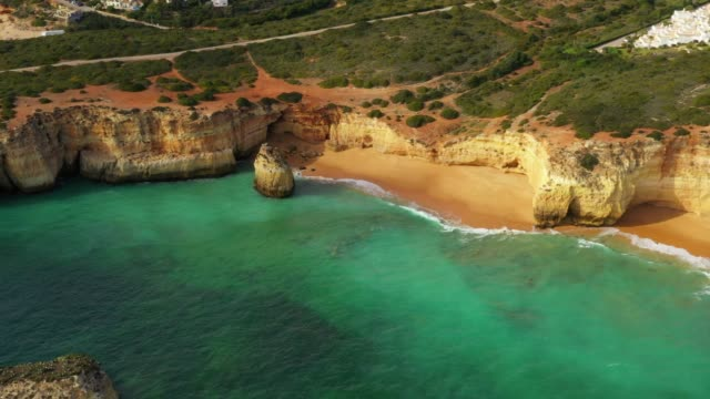 Aerial drone view cliffs, beaches and Atlantic Ocean