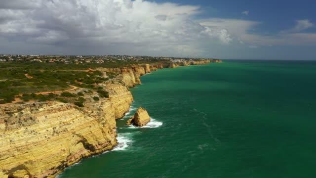 Aerial drone view cliffs, beaches and Atlantic Ocean
